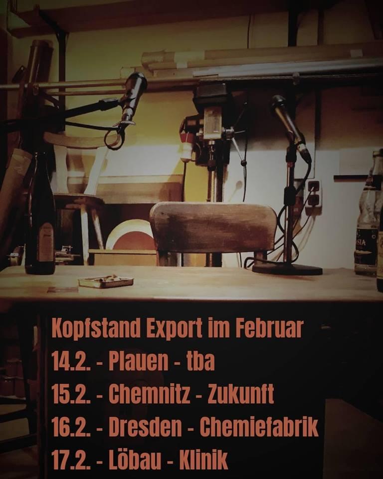 14. 2. Plauen, 15. 2. Chemnitz, 16. 2. Dresden, 17. 2. Löbau